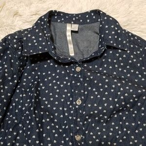 LC chambray button down heart top XS